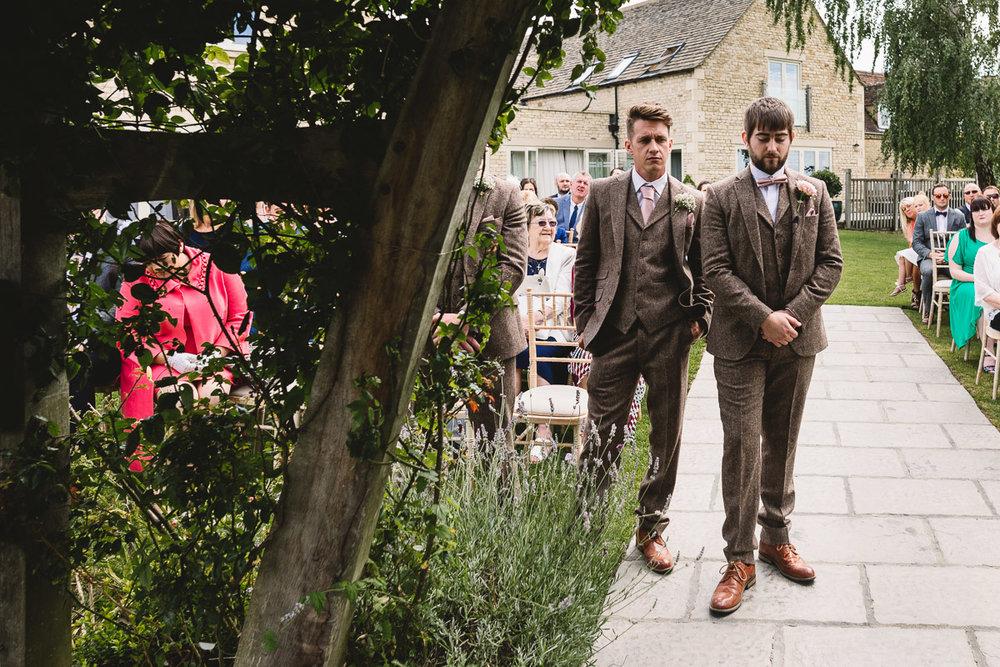 Groom at Rustic Hyde Barn Wedding