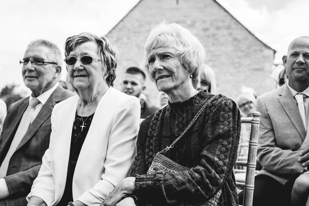 Documentary Wedding Photography | Grandmothers watching Hyde Barn Ceremony