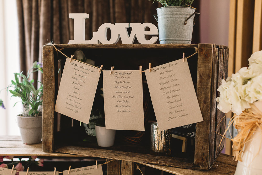 Rustic DIY Crates for table plan at Hyde Barn Weddings