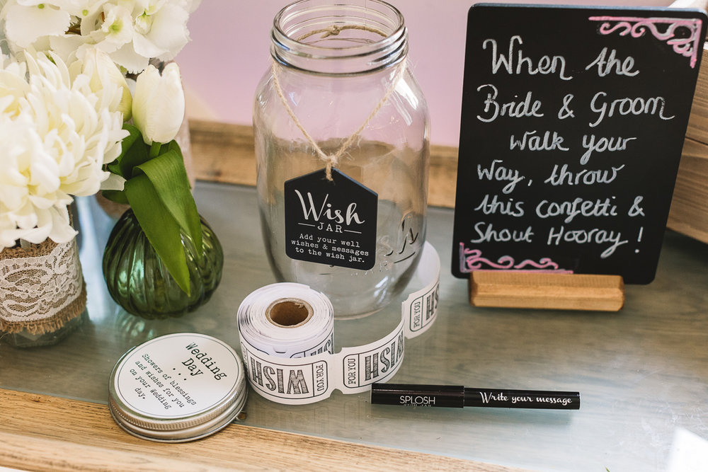 DIY Wish Jar at Rustic Hyde Barn Wedding