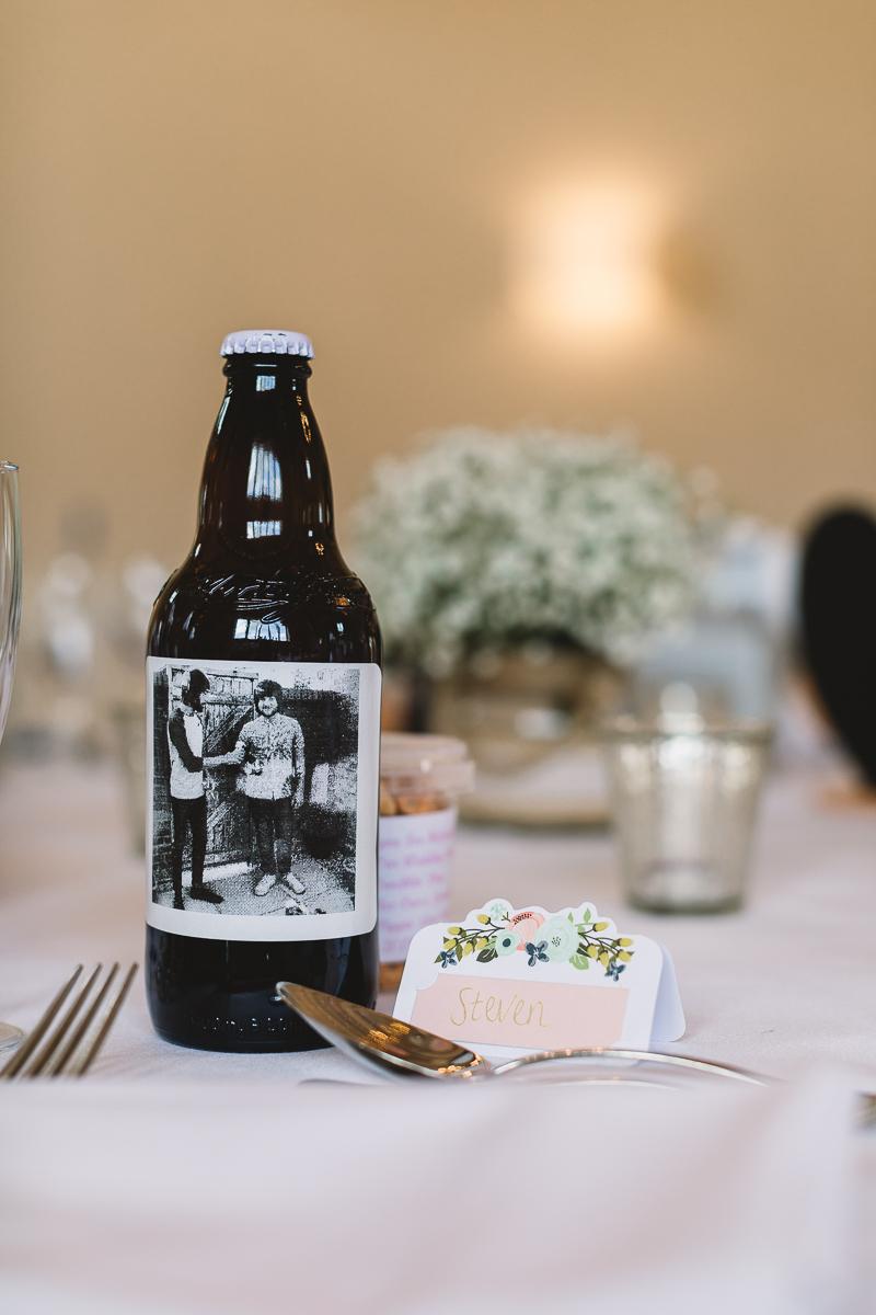 Unique bespoke wedding favours of bottled beer | Hyde Barn Weddings