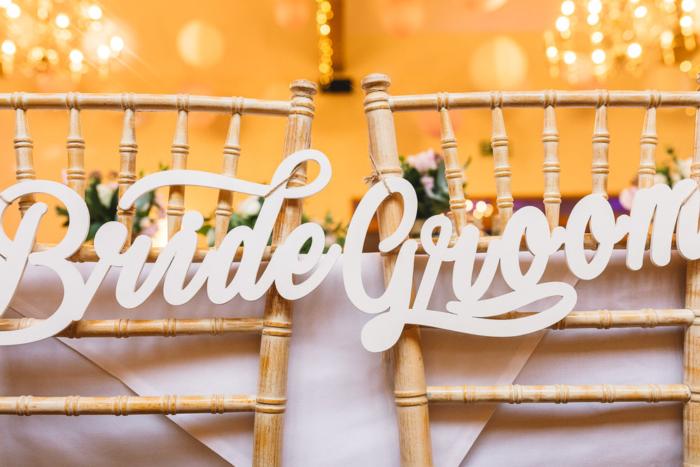 Bride and Groom Signage for Wedding chairs at Fun DIY Wedding