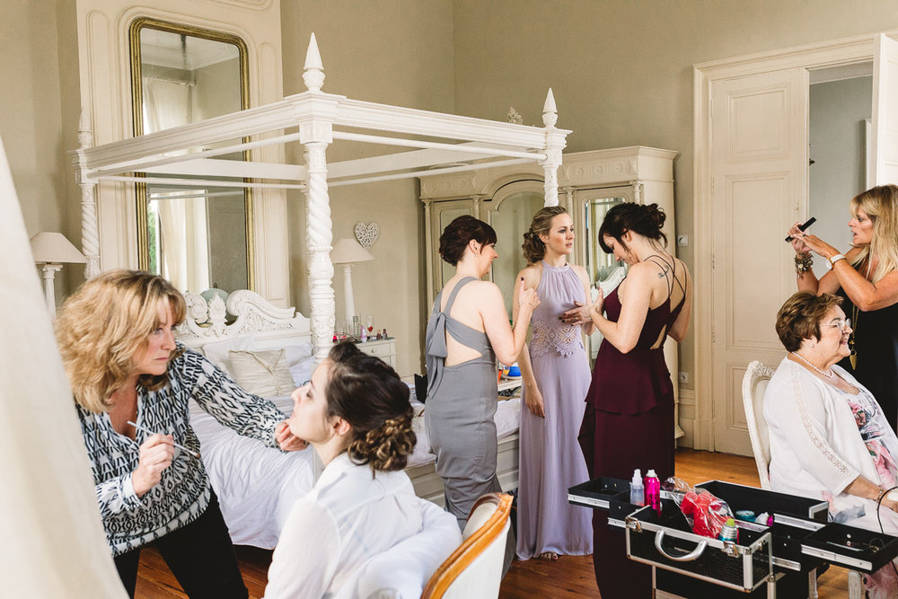 Bridal prep at france destination wedding