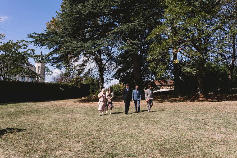 Guests on lawn at france destination wedding