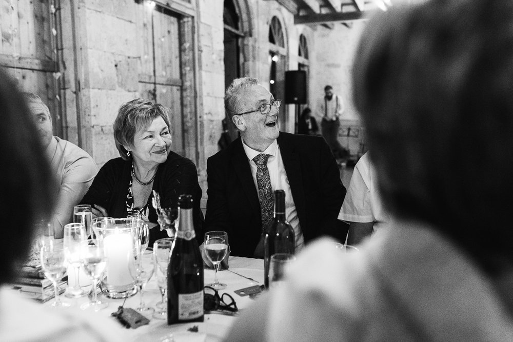 Fun moments in wedding speech at Chateau wedding in France