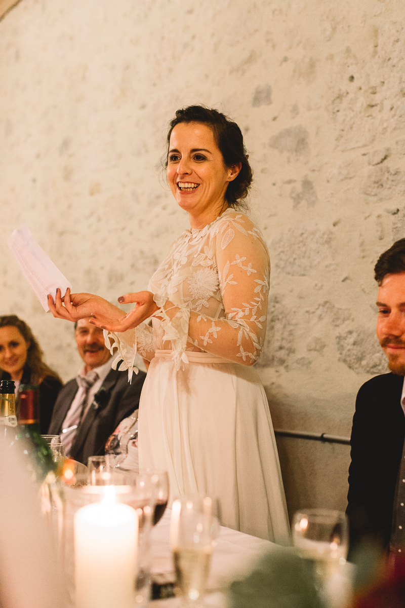 Bride speech at rustic france destination wedding