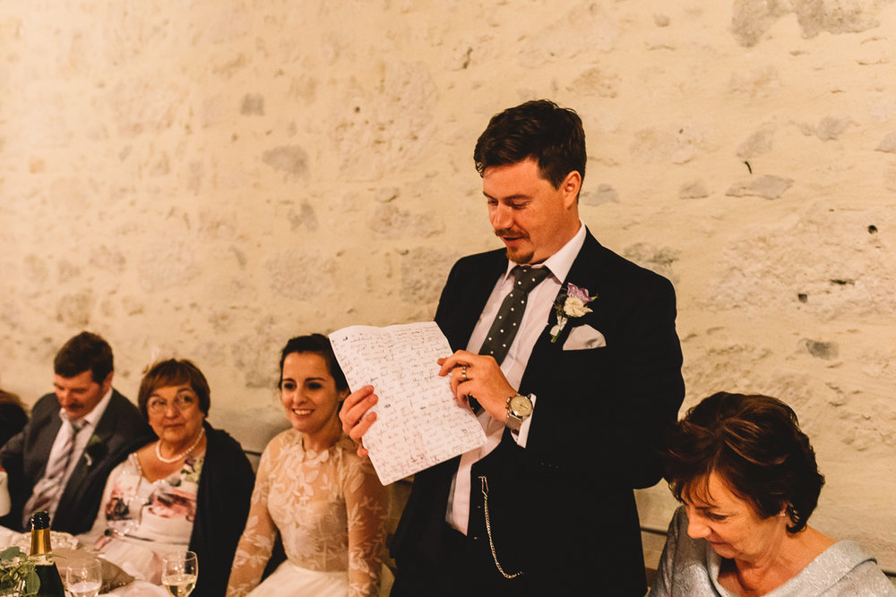 Groom speech at rustic french Chateau wedding