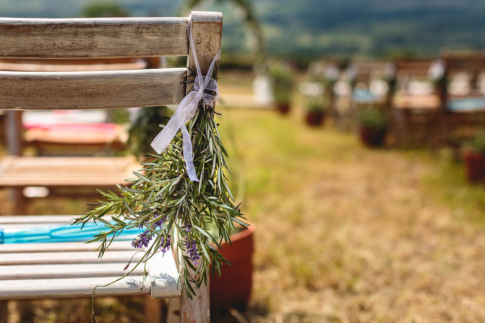 Bunch of Rosemary and Lavender attached to ceremony chair in a field in sheffield