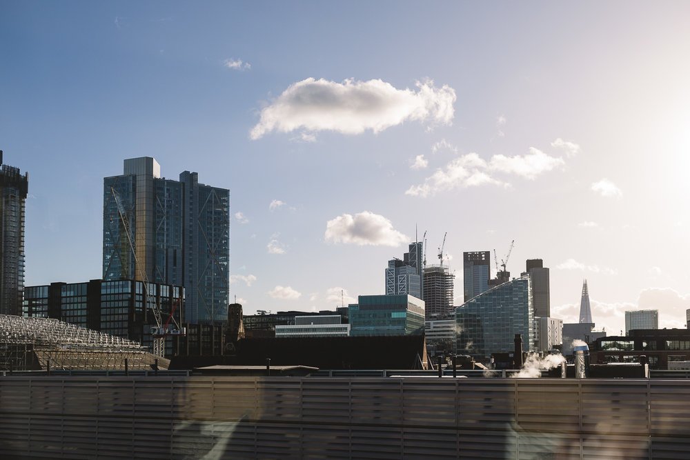 Photo of the London Skyline from Hoxton Hotel window in Shorditch