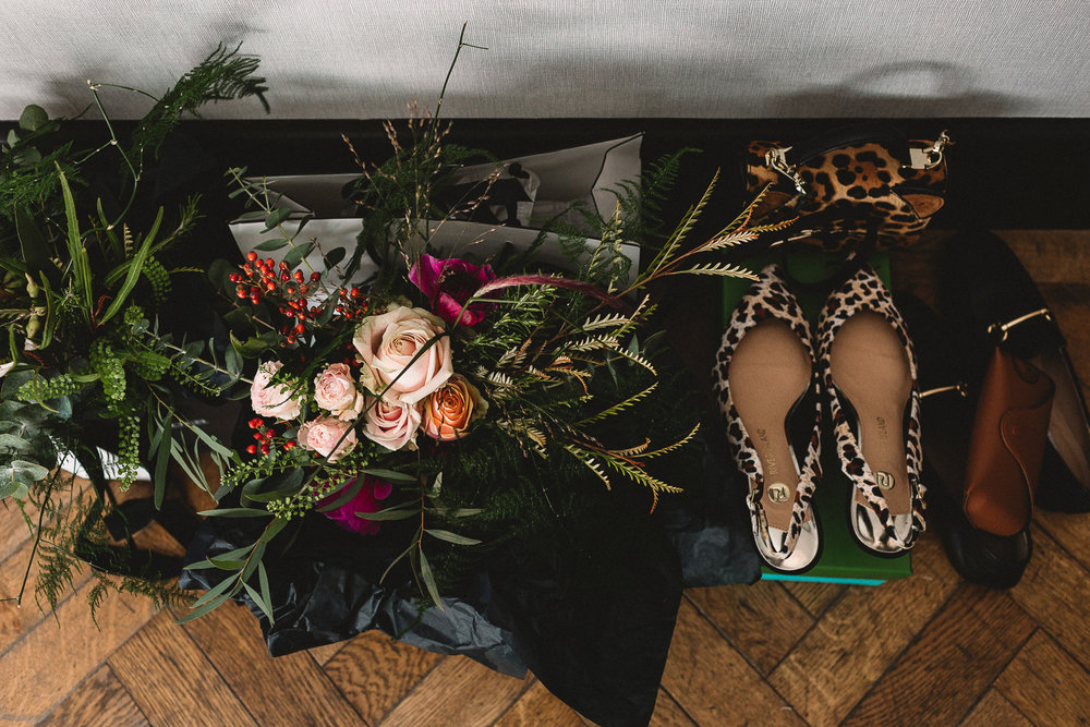 Photo of wedding flowers and accessories in London hotel