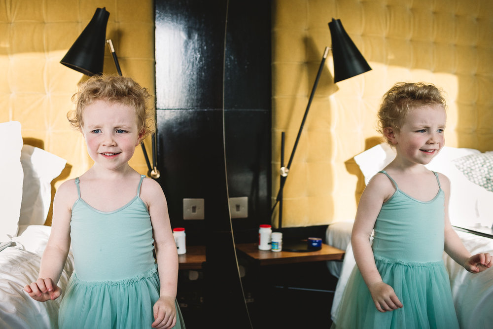 Flower girl in mirror at Hoxton Hotel