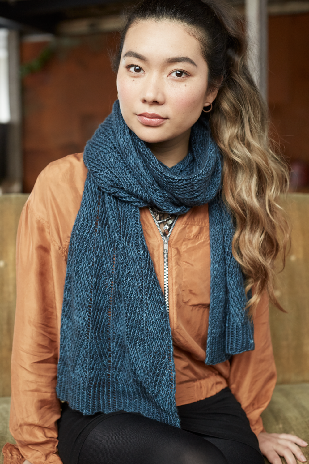 Ondeto Scarf in Pom Pom Quarterly 19 Photo by Amy Gwatkin
