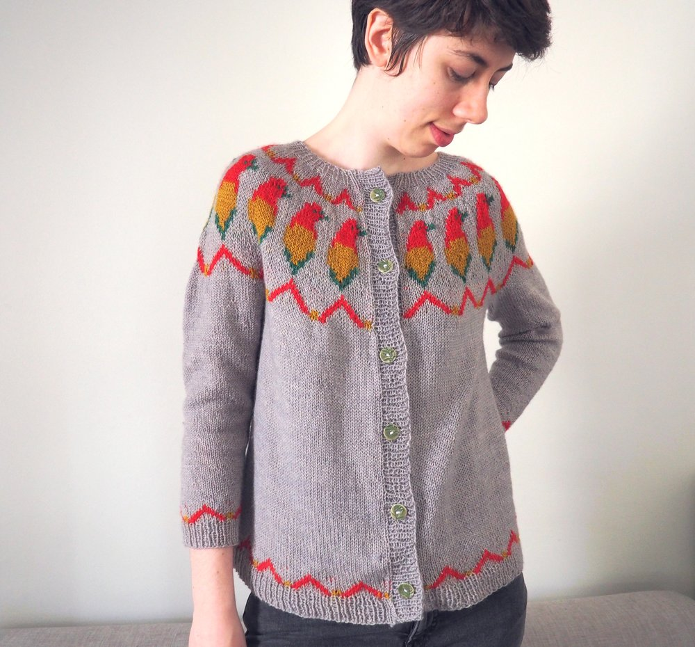 Flame Bowerbird - Play around with multiple colors with this sweater made of a stranded yoke representing the amazing flame bowerbird worked in up to three colors at once. You can try the steeking technique and wear it as a cardigan or keep it as a pullover, but whatever you do, it will be as unique as you!