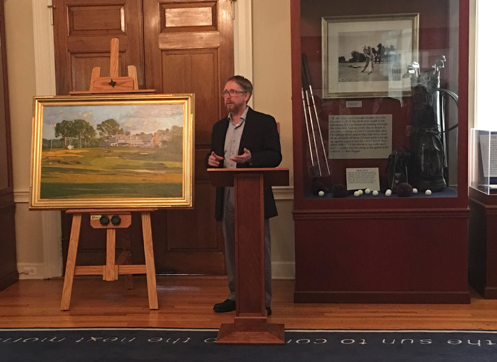 David speaking at the unveiling of his painting, 'The Eighteenth Hole At Oakmont' in the Hogan Room of the USGA Museum