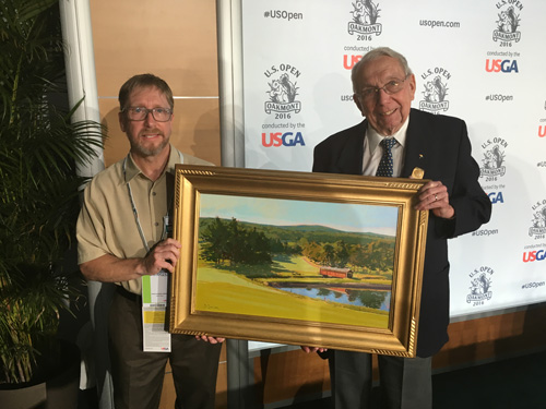 David Lussier with Doc Griffin (R) and his painting 'Morning At Latrobe'