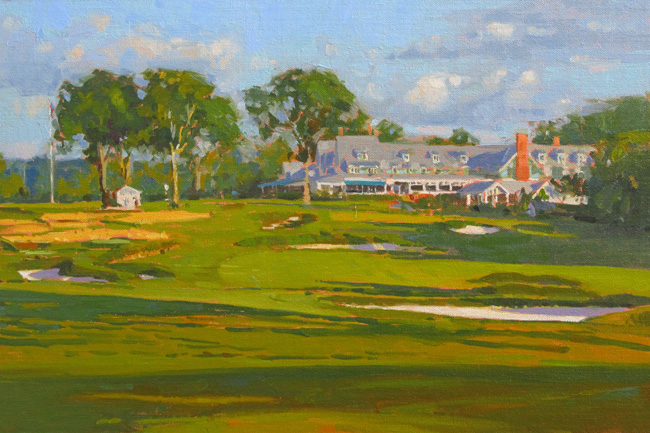 "'The Finishing Hole' 18th, Oakmont 12""x18"" PRIVATE COLLECTION"