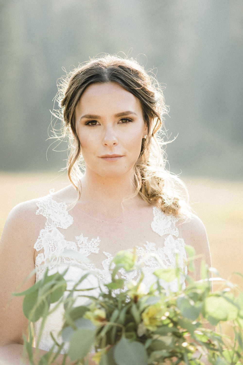 Brittnee (Ethereal Hair & Makeup/Bozeman, MT) killed it with this simple, timeless romantic, slightly boho-look. Autumn  almost  looks like she's not wearing any makeup at all - she just looks like she is naturally perfectly sculpted and her skin simply glows. Side note: Brittnee also did her hair. She's incredible.