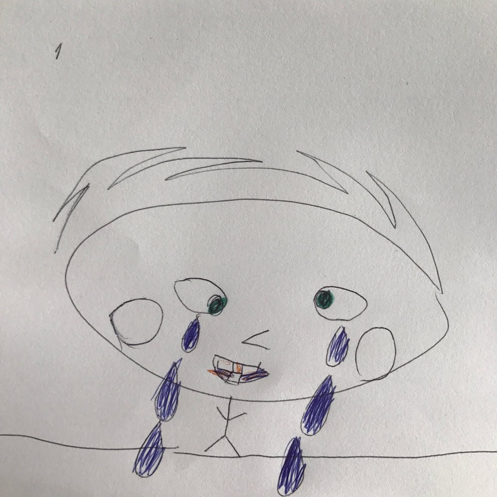 Sad and toothless crying kid - Martin 6 yo