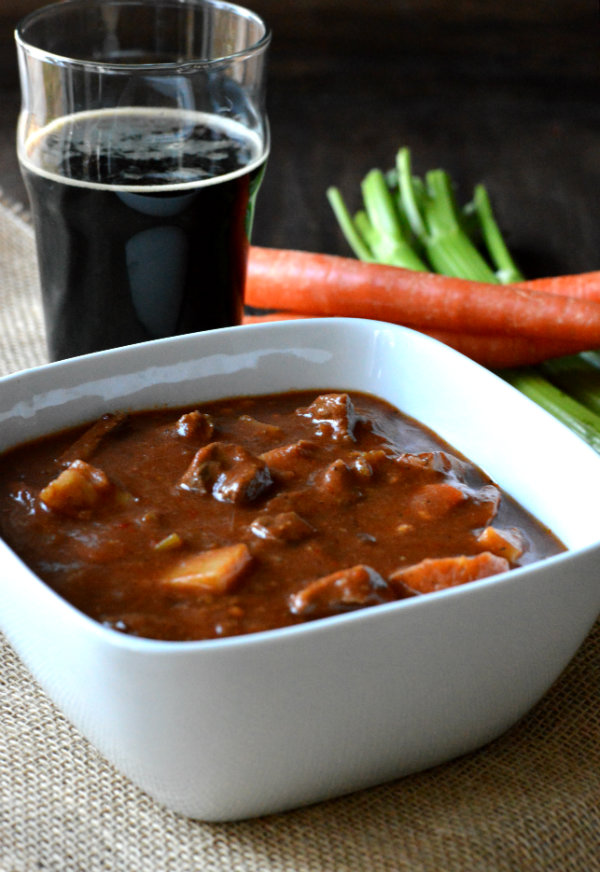 Hearty Beef Stew Simmered in a Smoked Porter. Then Serve Another Bottle of That Porter with the Meal! | CaretoPair.com