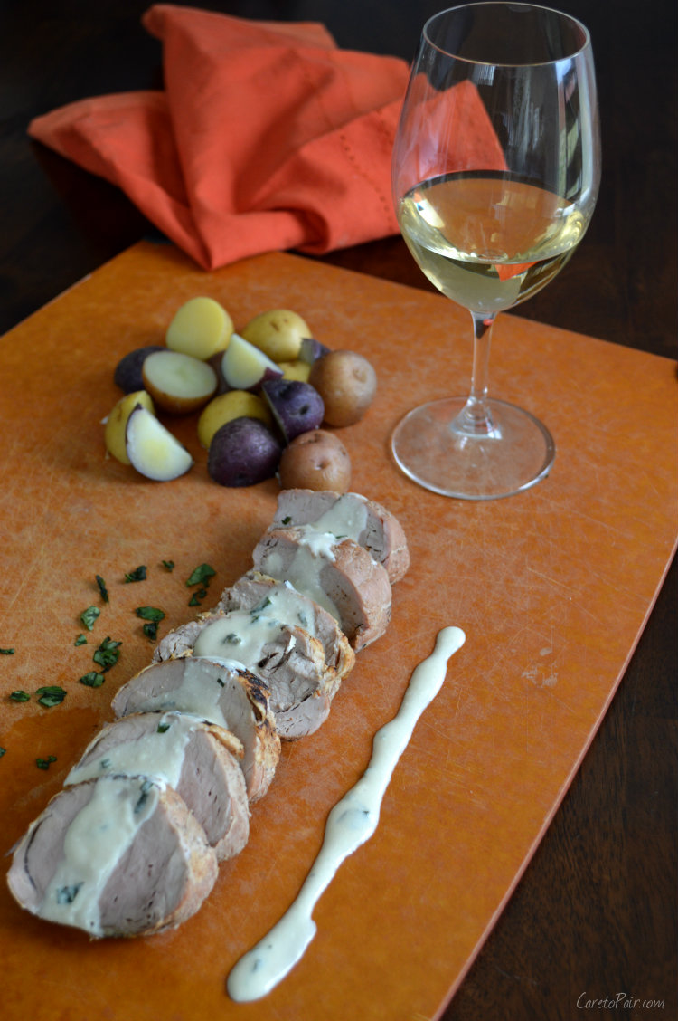 Roasted Pork with Mustard and Basil Cream Sauce Chardonnay Pairing | CaretoPair.com