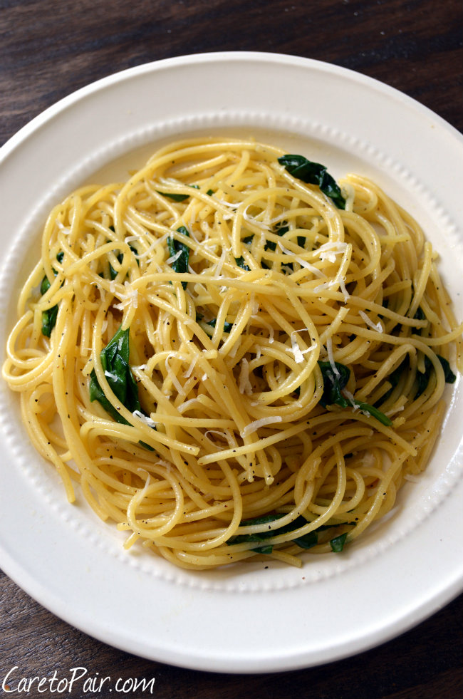 Easy Lemon Spaghetti and Beer Pairing | CaretoPair.com