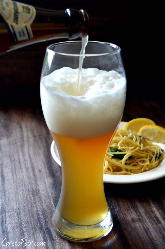 German Hefeweizen Beer Pairing with Easy Lemon Spaghetti! I love this weeknight meal | CaretoPair.com