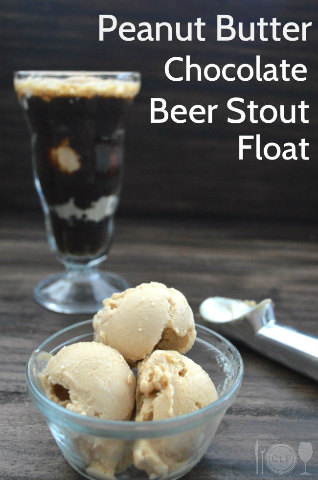 Peanut Butter Ice Cream with Sweet Stout to make the best beer float ever! | CaretoPair.com