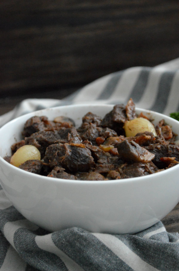 Beef Bourgignon homemade paired with a Red Burgundy (Pinot Noir). Classic wine pairing | CaretoPair.com