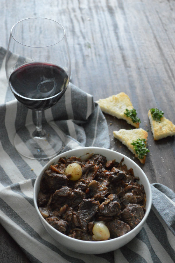 Beef Bourguignon paired with a Red Burgundy (Pinot Noir) via CaretoPair.com