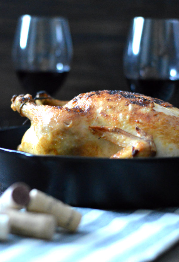 Roasted Chicken is not as hard as you think. Put a glass of Pinot Noir alongside it and you've got yourself a meal!