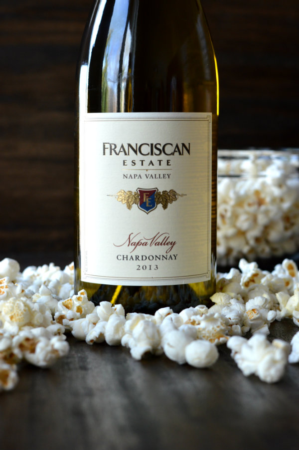Franciscan Estate Chardonnay Paired with Popcorn. The Perfect Wine Pairing!