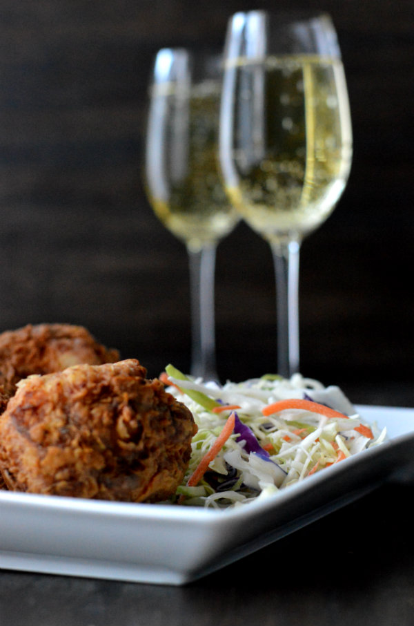 What wine should you pair with fried chicken? Bubbly! Via CaretoPair.com