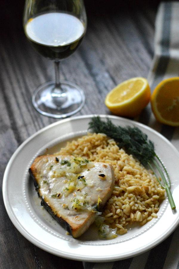 Broiled Swordfish with Lemon-Butter Cream Sauce Paired with Wine! Woohoo!