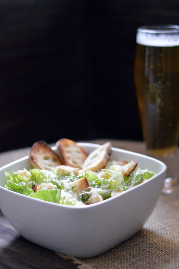 An easy to make, classic homemade caesar salad plus a beer pairing: German Helles Lager. Sometimes the simplest things in life are the best things in life!