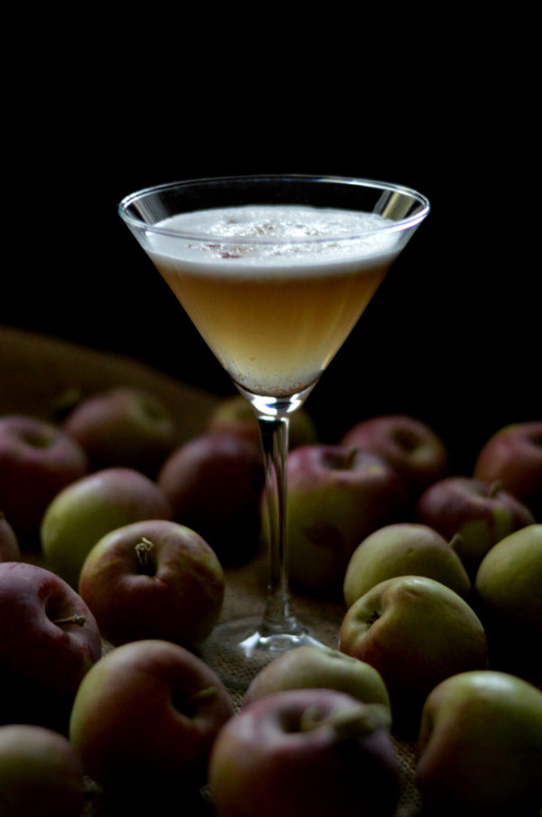 The Salted Caramel Apple Flip Cocktail using Stoli salted caramel vodka, simple syrup, and an egg white. One of the best cocktails for fall! CaretoPair.com