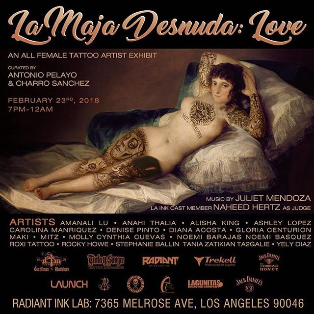 #LoveThemed art exhibit... All female tattoo Artists 🌹 ・・・ FREE EVENT!!!! Going down Friday Feb 23rd at @radiantinklab curated by @sanchezjose_art & @antoniopelayo  Artists: @tat31 @anahi_ts6 @lu_tattoos @noemitattoos @yelydiaz_art @roxitattoo @ballliinn @denise_tpinto @centurionart  @mitz_tattoos @ta2galie @xxmilkbonexx @mollytattoo  @noni_tattoos & more!  Music by @juliet__mendoza  With LA INK cast member @___naheed as judge  Sponsored by @sullenclothing @lagunitasbeer @launch_la @victorportugal @lacasadeltatuador @jackdaniels_us @trekell_art_supplies  #Tattoo #Tattoos #Art #Music #Love #Women #TattooArtists #Culture #YelyBear #LosAngeles #Radiant #Sullen #SullenAngels #AntonioPelayoProductions #FemaleTattooArtist
