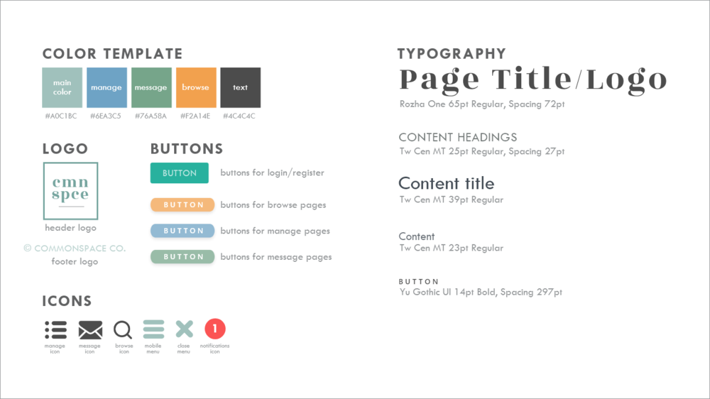 Our final version of style guide for CommonSpace.
