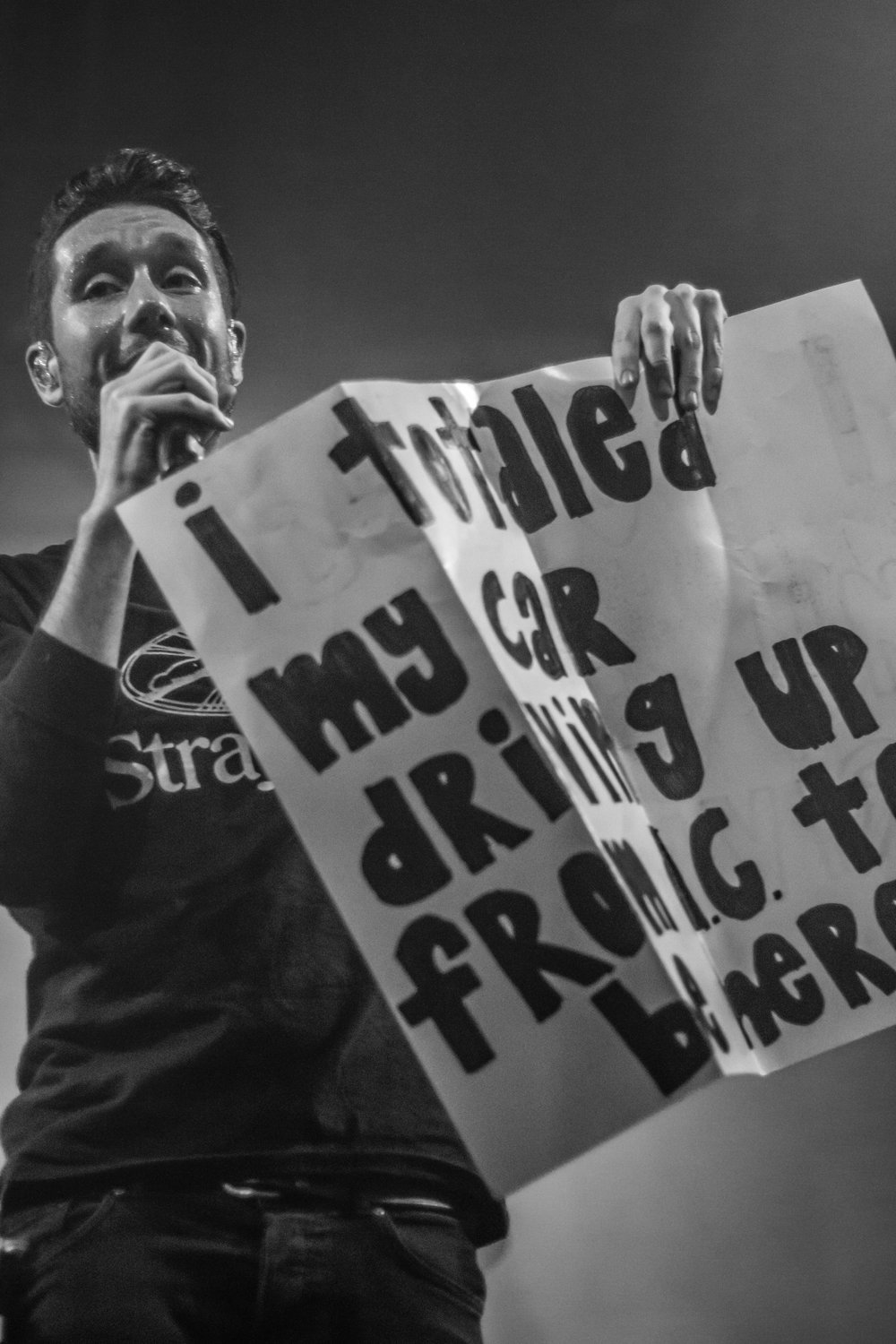 Frontman Dan Smith and the infamous sign
