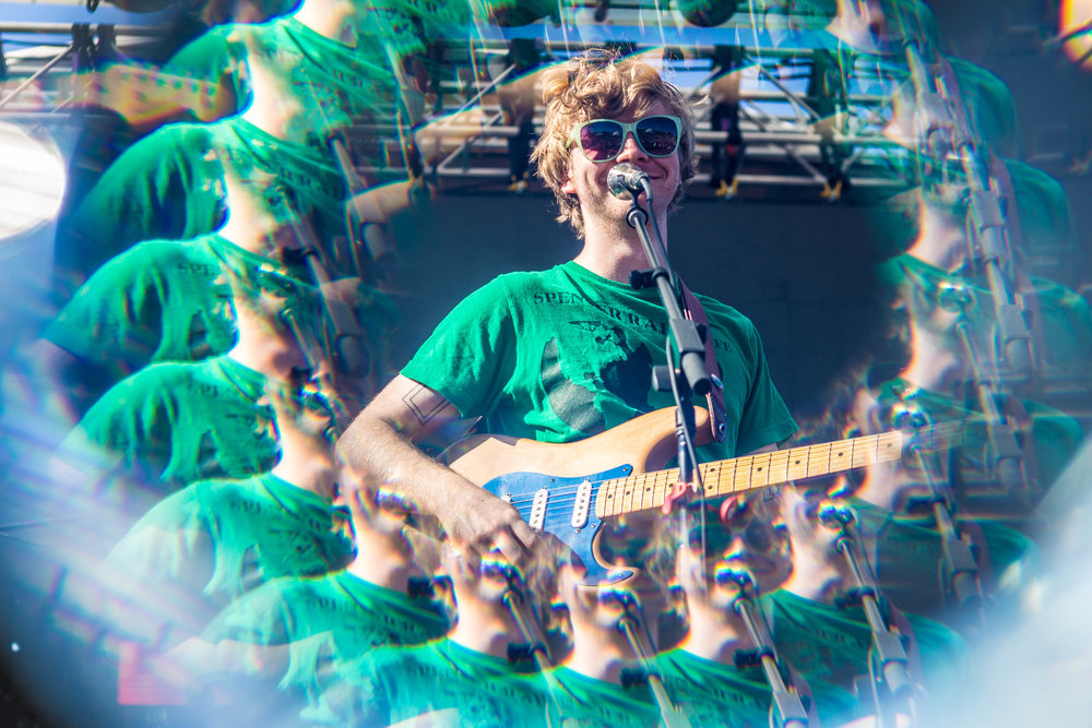 Evan Stephens Hall and his sunglasses during Pinegrove's set