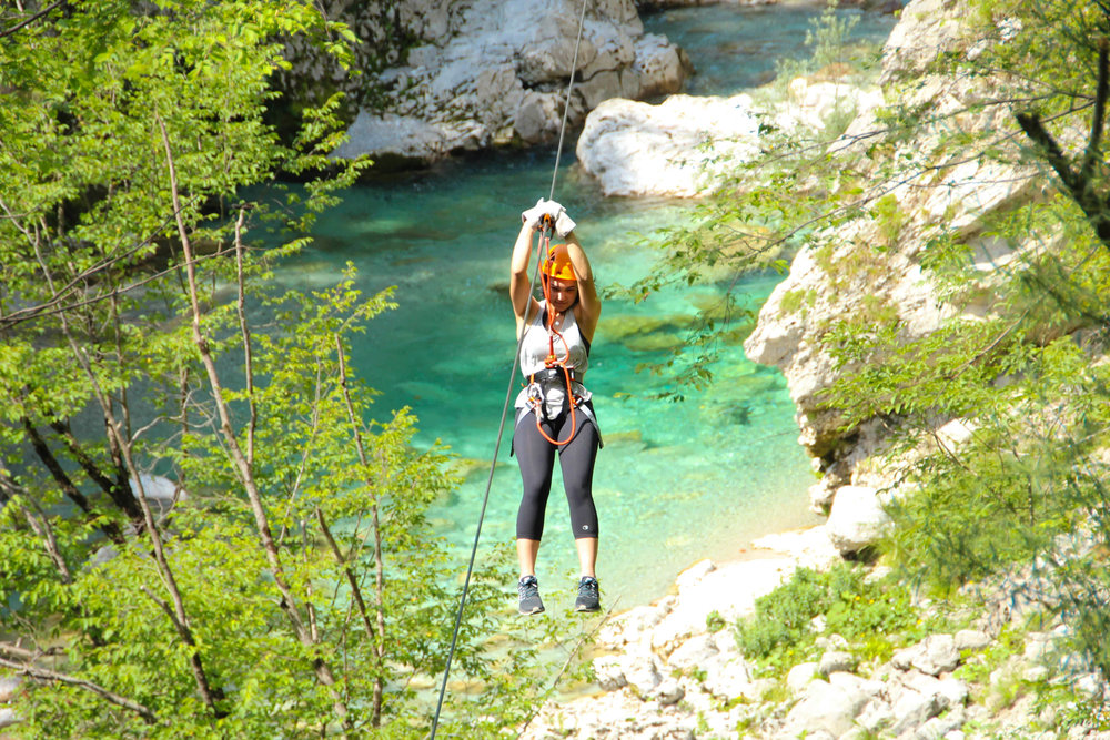 Ziplining across Učja river