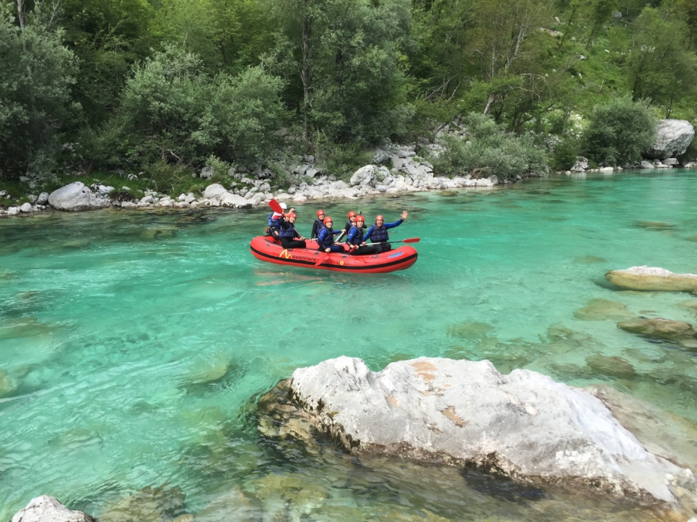 white water rafting down Soča river