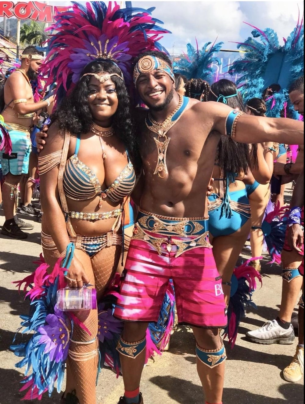 Left: Follower, @ heyyychanelle  celebrating Carnival in Trinidad 😍