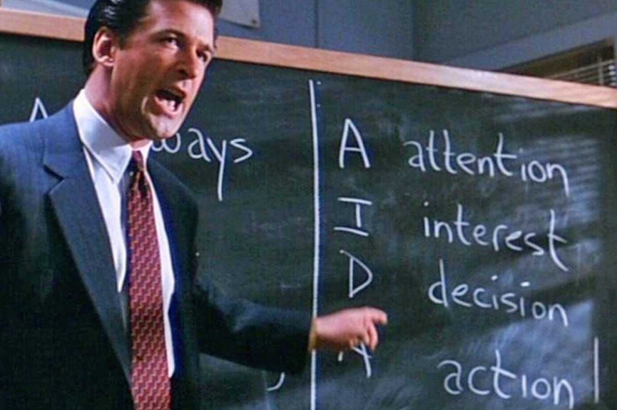 Alec Baldwin in 'glengarry glen ross' (1992) explaining how to sell to leads