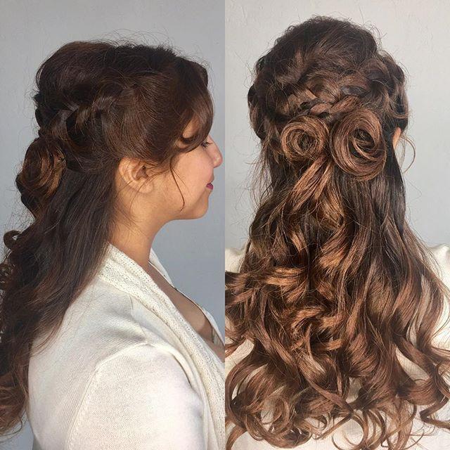 Beauty and Beast inspired prom style! #hermosasalonokc #hermosaedmond #edmond #longhairdontcare #haircrush #curlyhair @hermosa.salon