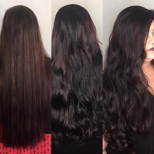 Gorgeous long purple hair vibes! Before and After @hermosa.salon with Tyler #lovelyhair #hairgoals #hermosaedmond #hermosasalonokc #longhairdontcare