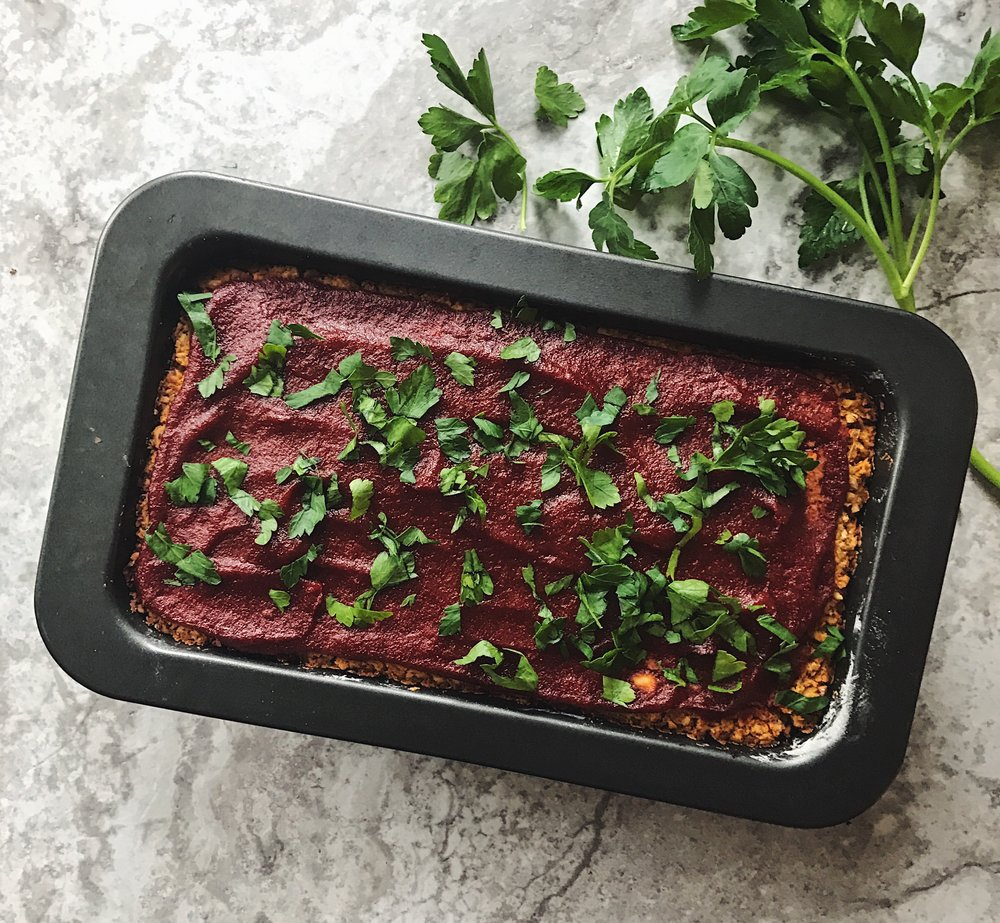 Chickpea Vegan Meatloaf. This is not my recipe -- I got it   here .   (Instead of soy sauce, I used coconut aminos).