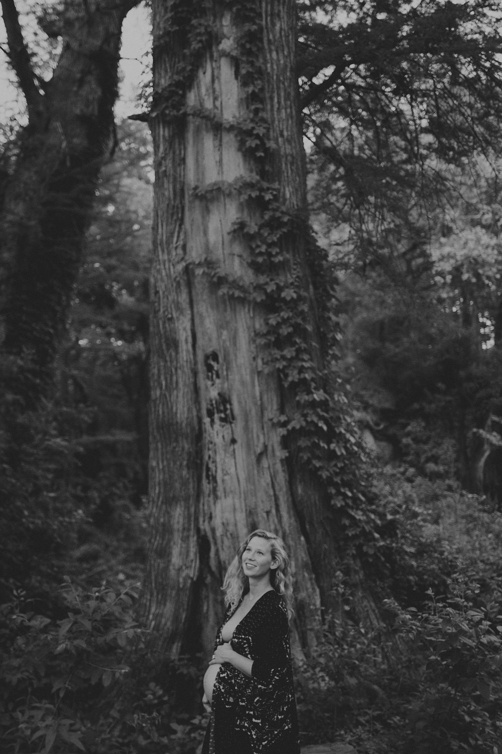pregnant nature goddess maternity photoshoot in the woods hippie mama