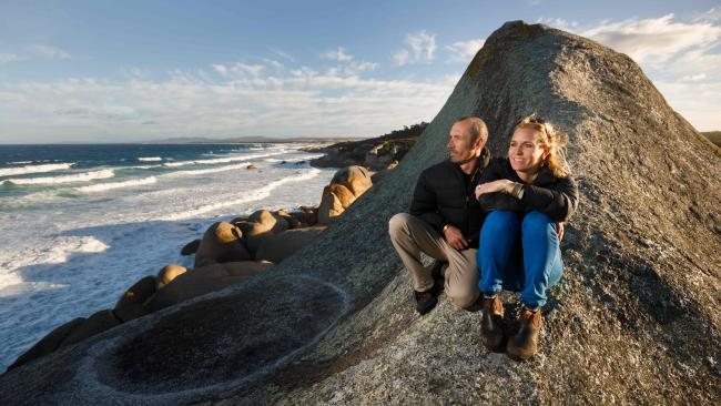 Tasmanian Walking Company head Zane Denmen and Daisy Lamont, his partner and co-manager at the Bay of Fires Lodge in Tasmania's northeast. Picture: Peter Mathew