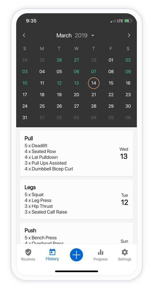 Build routines - The builder makes it easy to create routines from over 1000 exercises.