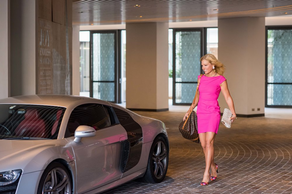 Anna Kooiman Hot Pink Fuchsia Dress, Louis Vuitton duffle and clutch, pink shoes, statement jewelry